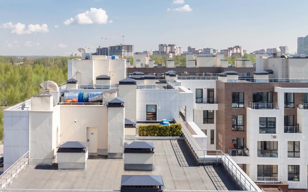 Multi unit apartment rooftop views